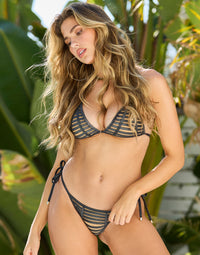 Hard Summer Tie Side Bikini Bottom in Black Sliver with Nude Lining - Front View
