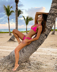 Hard Summer Tie Side Bikini Bottom in Neon Pink with Nude Lining - Side View