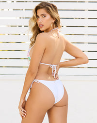 Hard Summer Triangle Bikini Top in Pastel Multi with Nude Lining - Back View