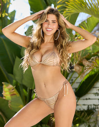 Hard Summer Tie Side Bikini Bottom in Rose Gold with Nude Lining - Front View