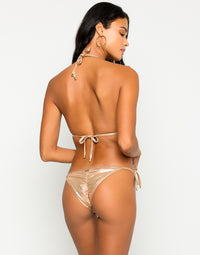 Hard Summer Tie Side Bikini Bottom in Rose Gold with Nude Lining - Alternate  Back View