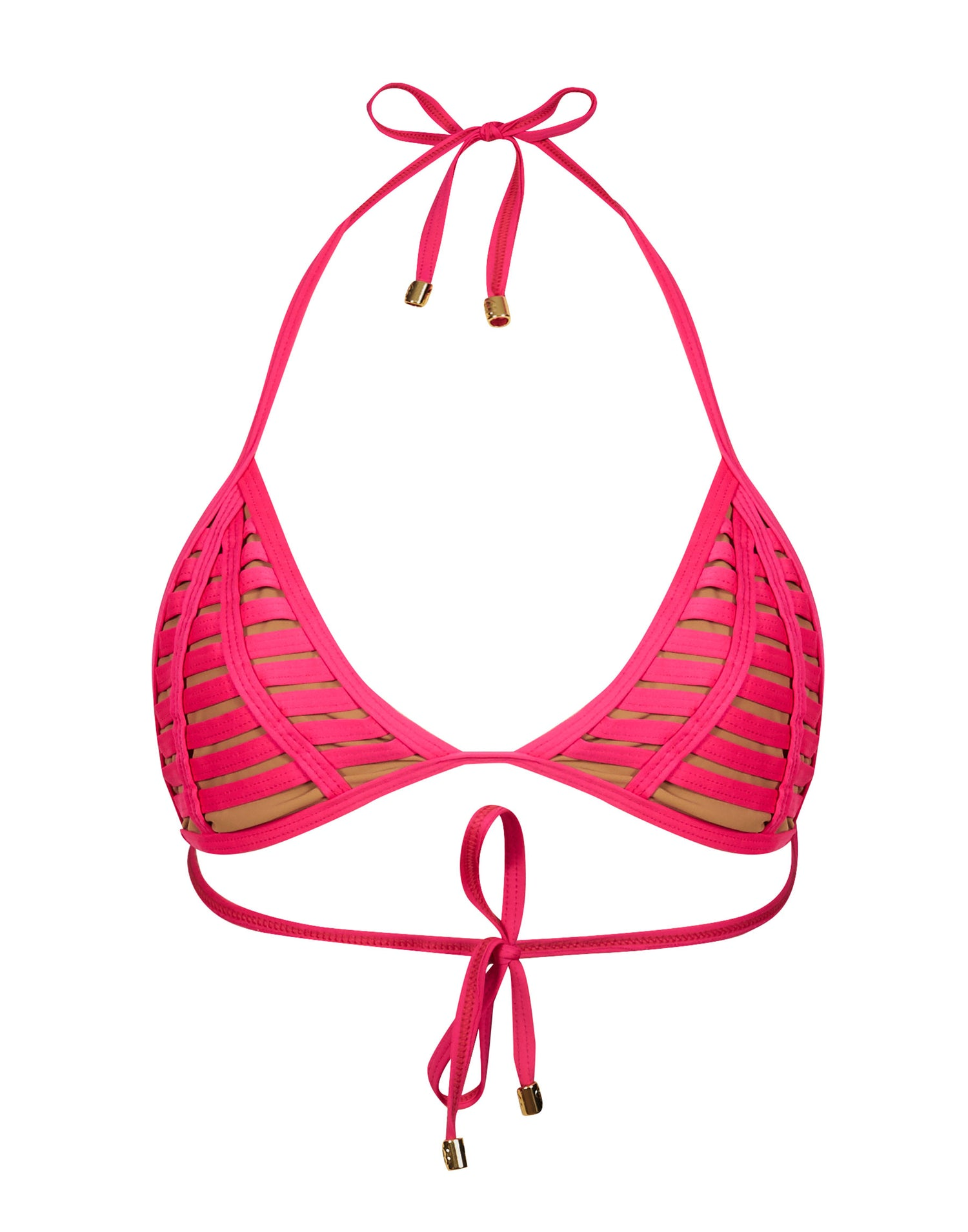 Hard Summer Triangle Bikini Top in Barbie - product view