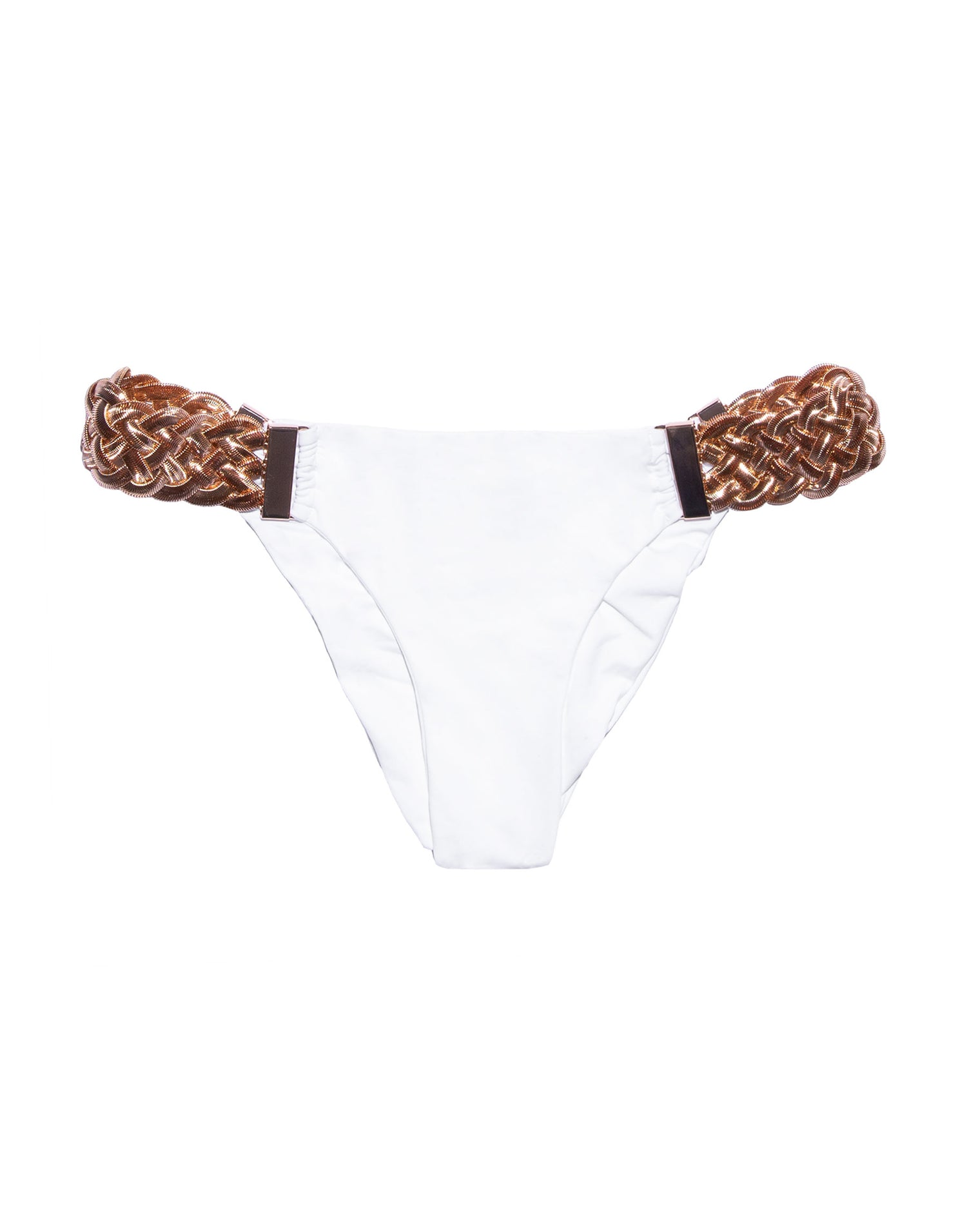 Alexa Skimpy Bikini Bottom in White with Rose Gold Hardware - product view