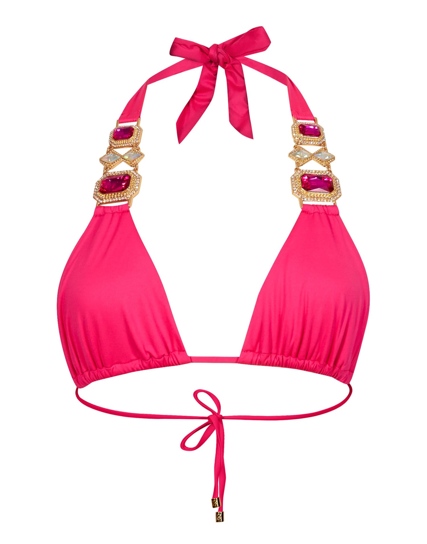 Jazmin Halter Bikini Top in Barbie - product view