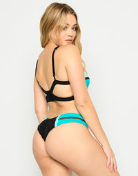 Endless Summer Push Up Bikini Top in Maldives/Aqua/Black with Workable Zipper - Alternate Back View
