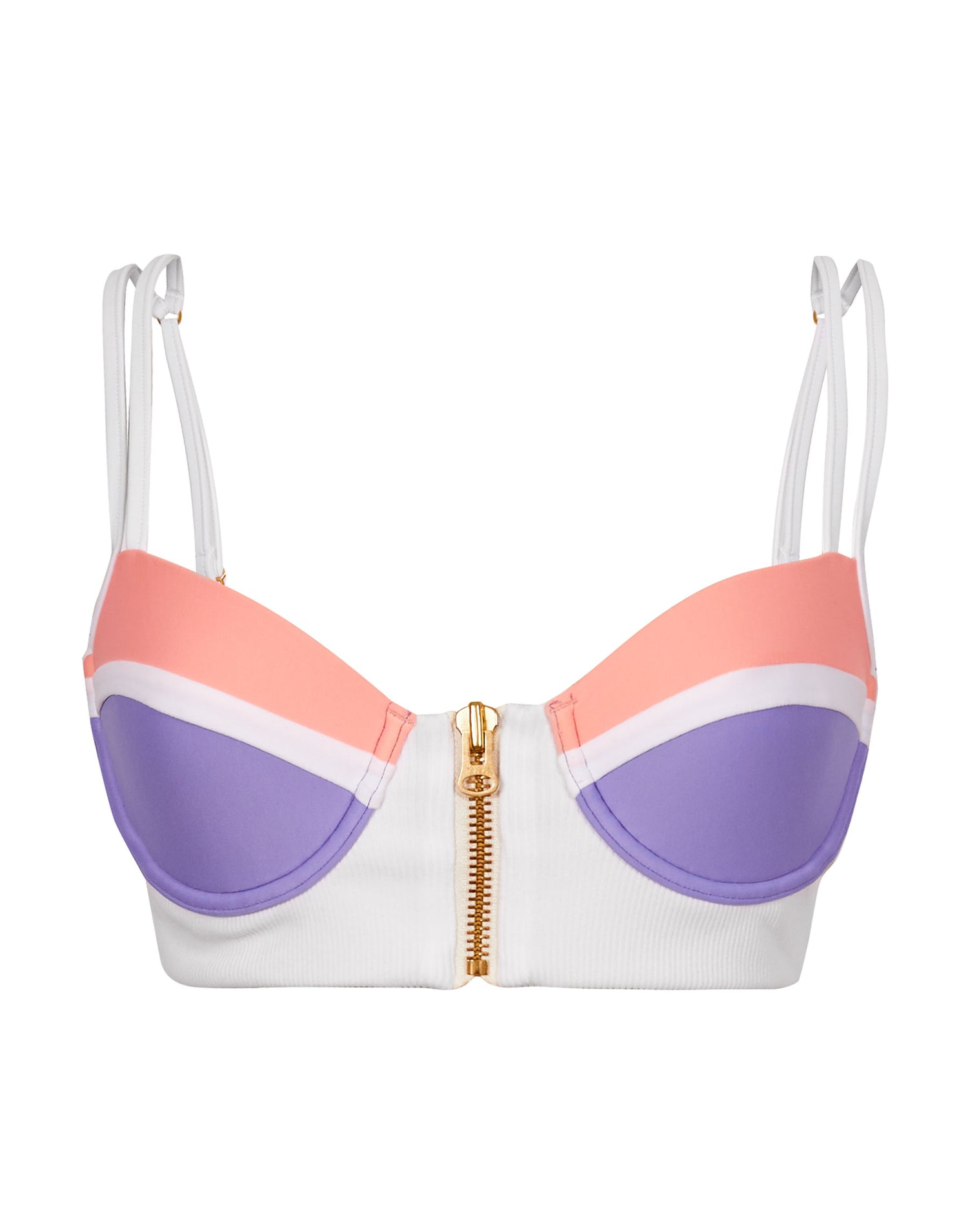 Endless Summer Push Up Bikini Top in White/Sorbet/Lilac - product view