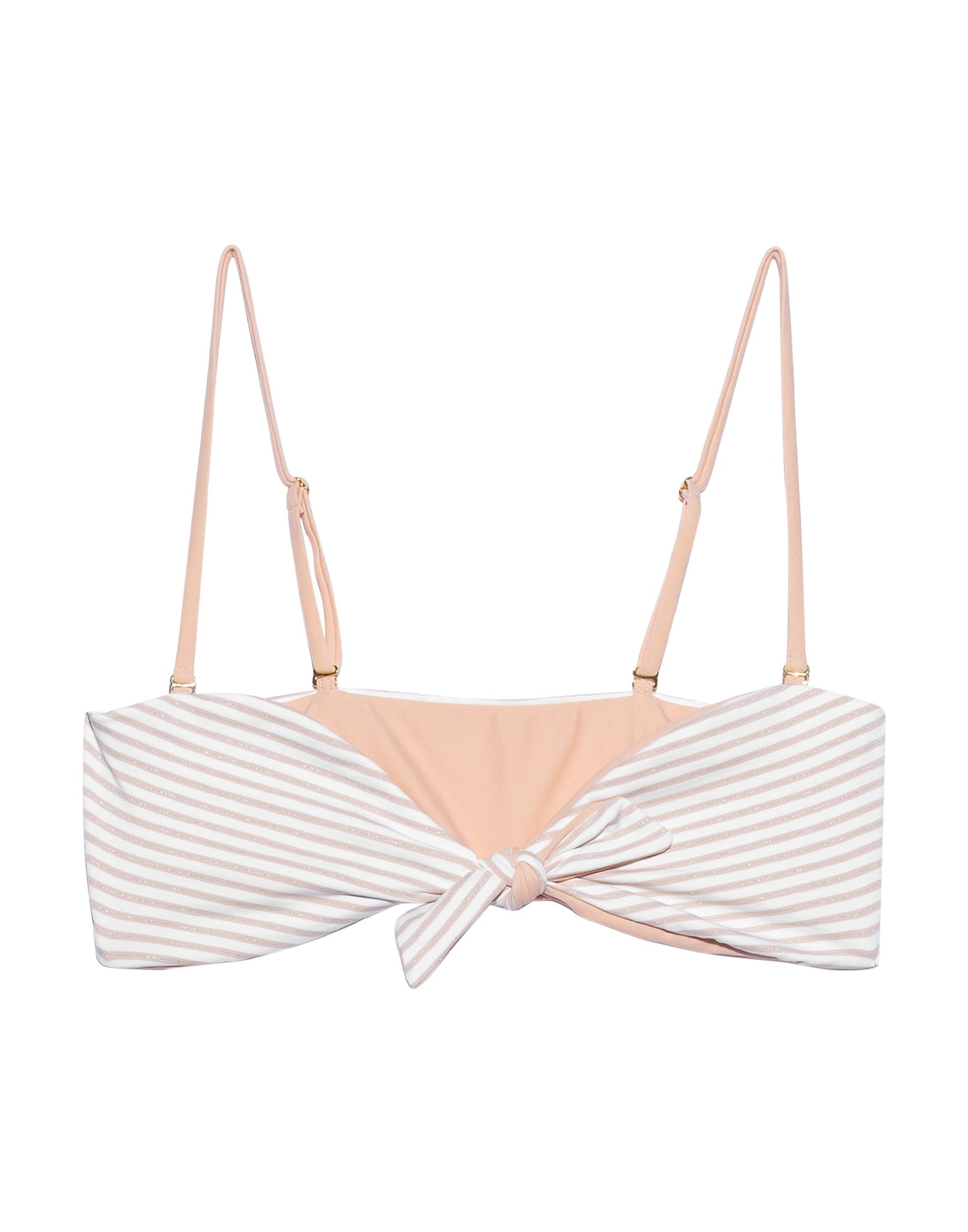 Layla Bandeau Bikini Top in Blush Stripe with Straps - product view
