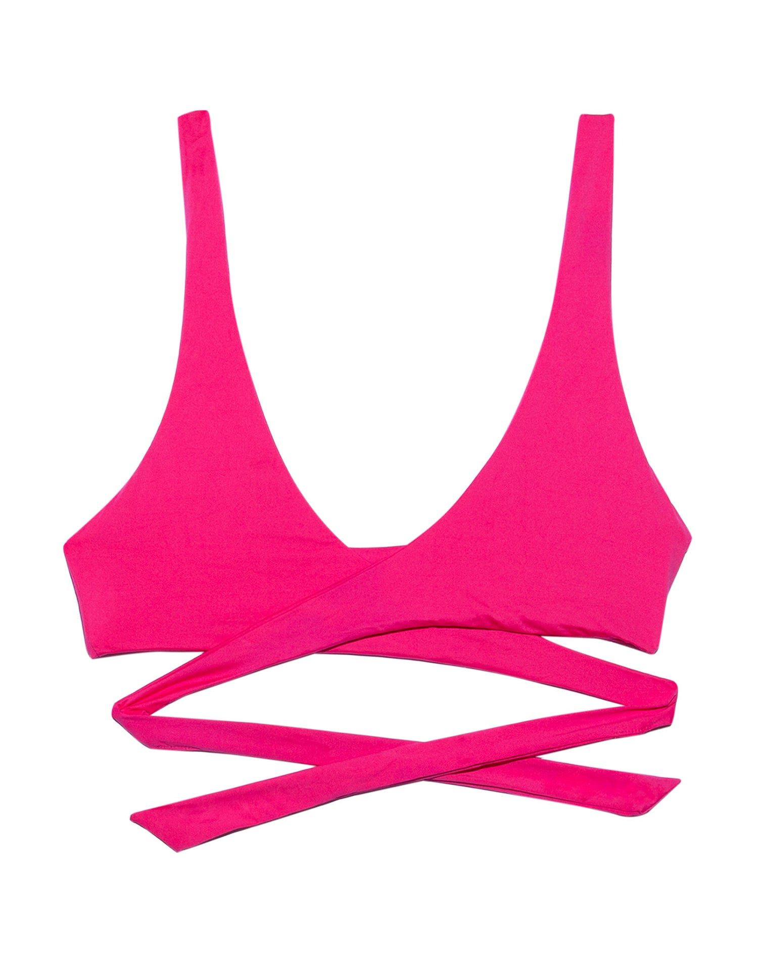Skylar Wrap Bikini Top in Barbie Pink - product view