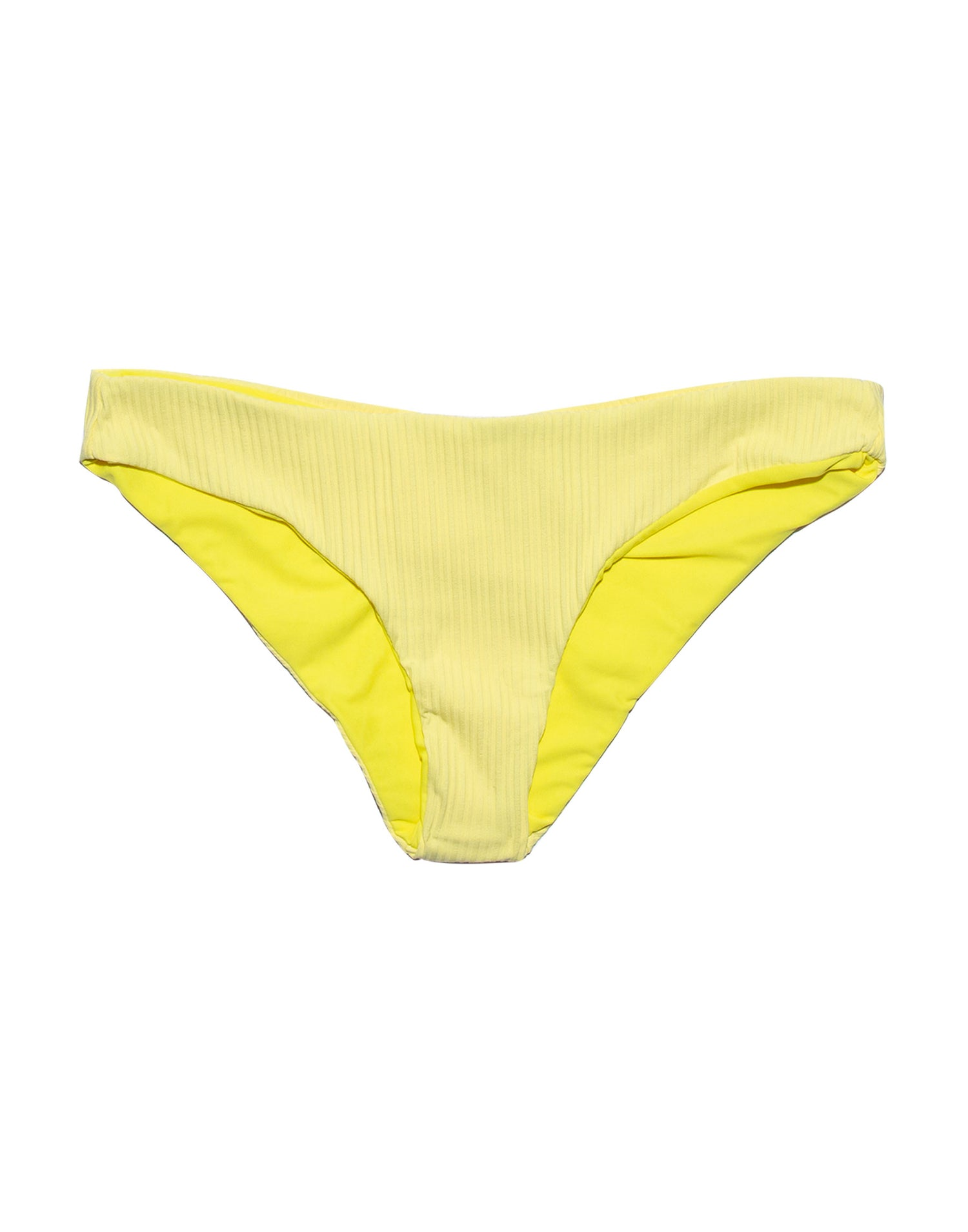 Stephanie Midi Bikini Bottom in Lemon Yellow Rib - product view