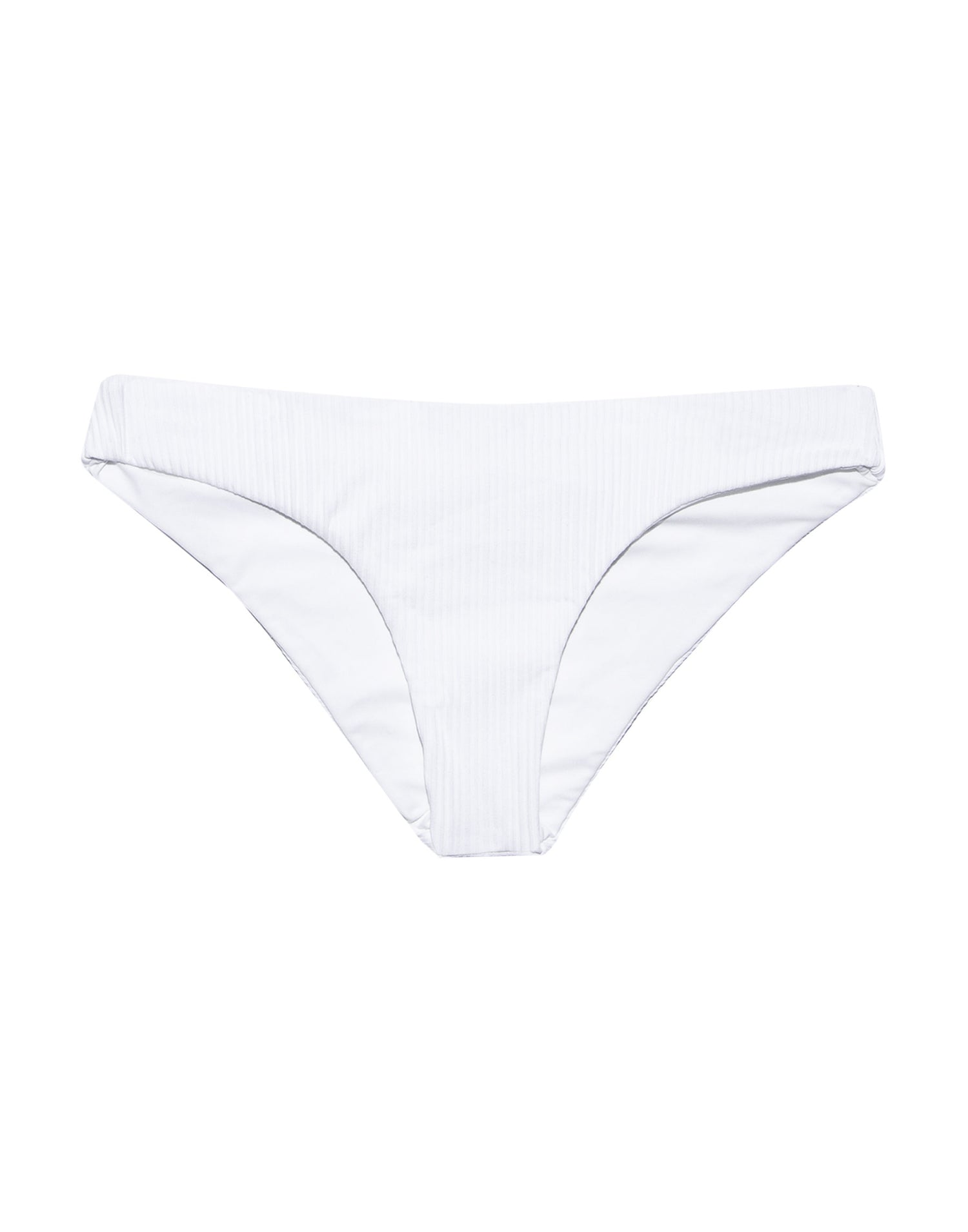 Stephanie Midi Bikini Bottom in White Rib - product view