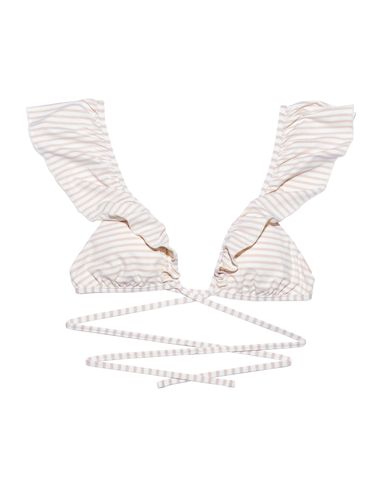 Scarlette Wrap Bikini Top with Ruffle Detail in Blush Stripe - product view