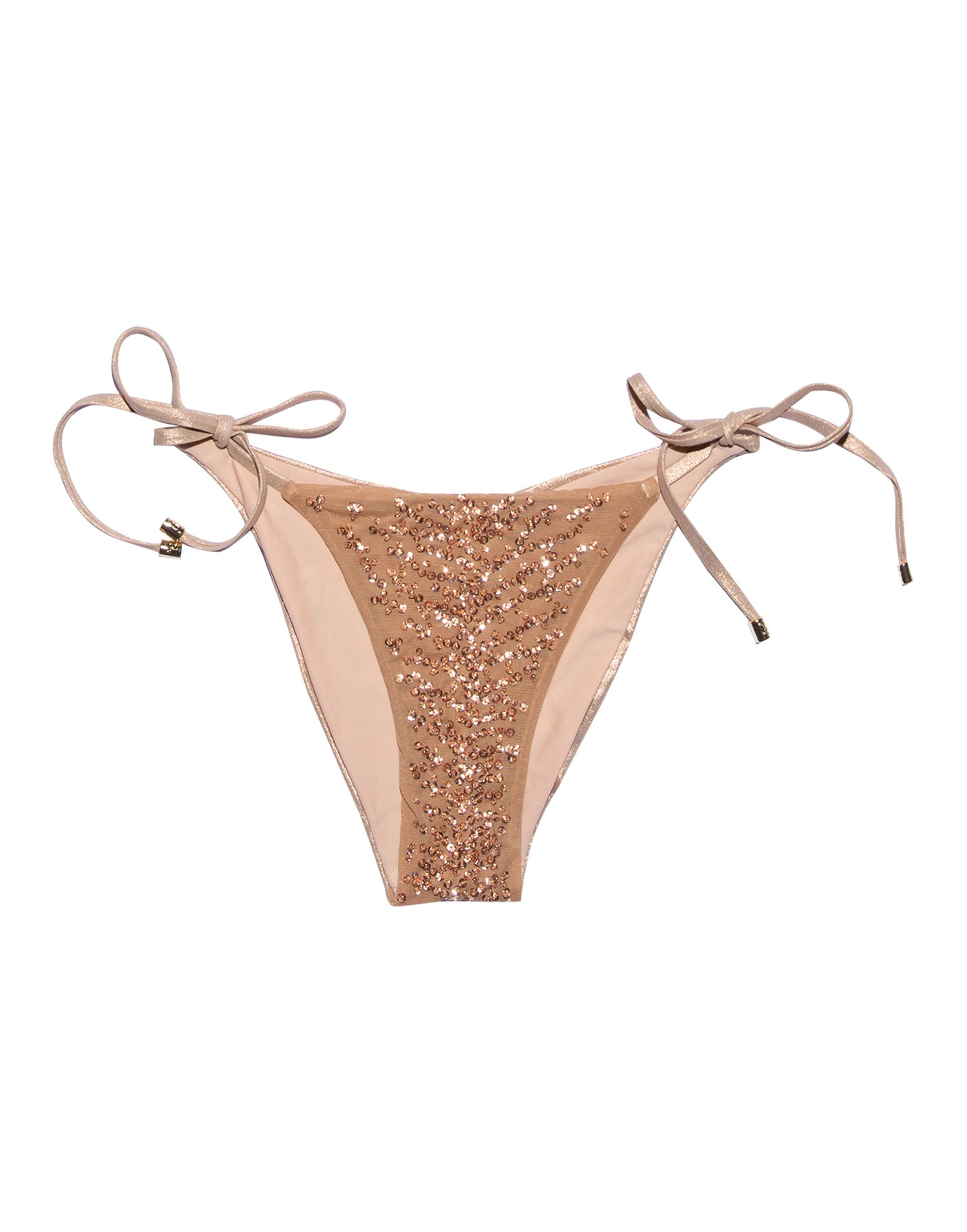 Nala Tie Side Skimpy Bikini Bottom in Rose Gold with Beads and Sequins - product view