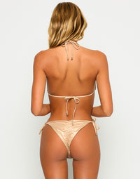Nala Tie Side Skimpy Bikini Bottom in Rose Gold with Beads and Sequins - Back View