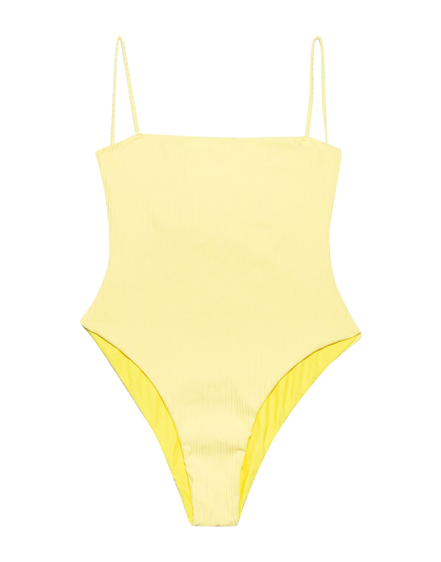 Luna One Piece in Lemon Yellow Rib - product view