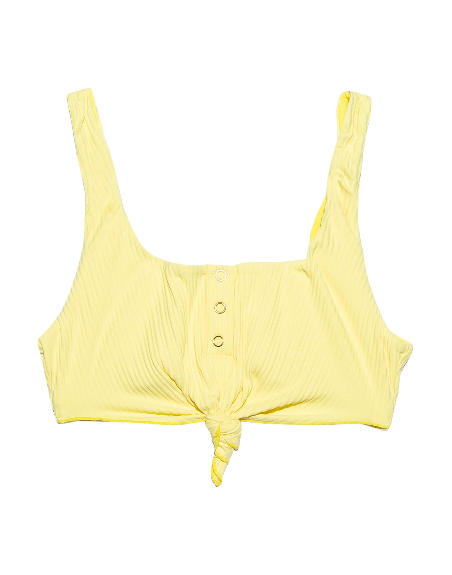 Sage Knot Bikini Top in Lemon Yellow Rib - product view