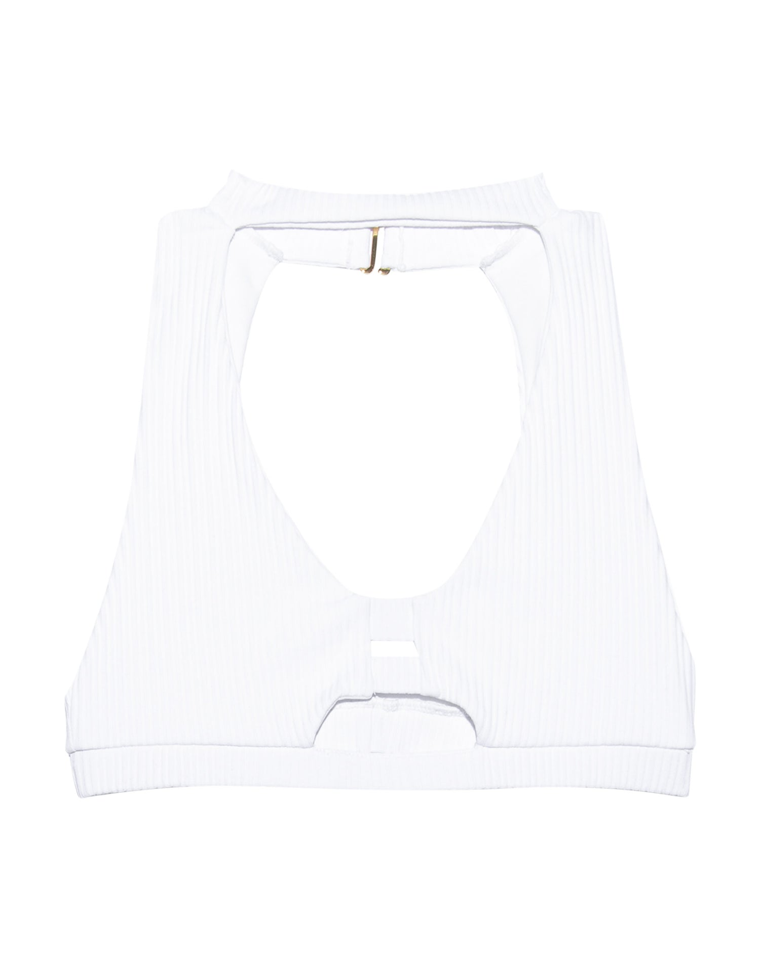 White Rib Gwen High Neck bathing Suit - product view