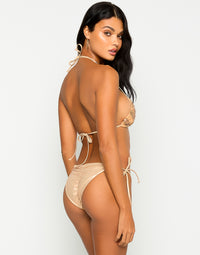 Jolie Tie Side Bikini Bottom in Rose Gold with Beads and Sequins - Back View