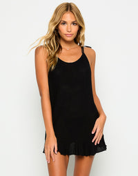 Annika Sexy Summer Dress with Ruffles in Black - Front View