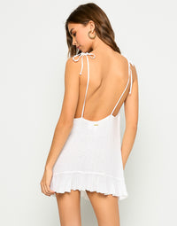 Annika Sexy Summer Dress with Ruffles in White - Alternate Back View