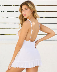 Annika Sexy Summer Dress with Ruffles in White - Back View