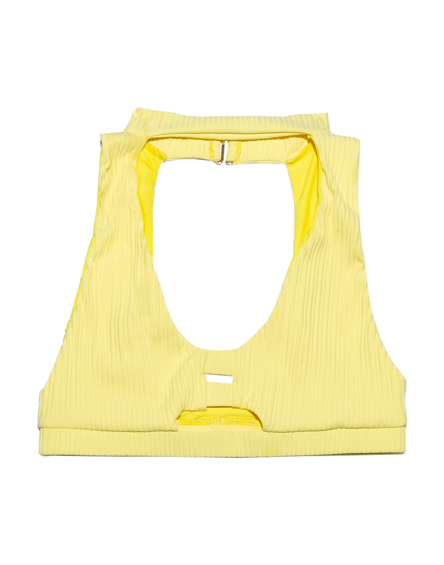 Lemon Yellow High Neck Bikini Top - product view