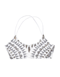 Sloane Bralette Bikini Top with Sequins in White - product view