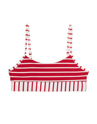 Emerson Bralette Red Striped Rib Bikini Top Product View
