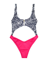 Kelly Monokini in Zebra and Barbie Pink - product view