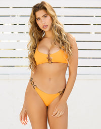 Lexi Bralette Bikini Top in Soleil with Acrylic Ring Hardware - Front View