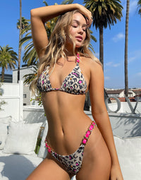 Brynn Triangle Bikini Top in Multi Leopard  with Pink Leather Trim and Gold Braid Hardware - Alternate Front View
