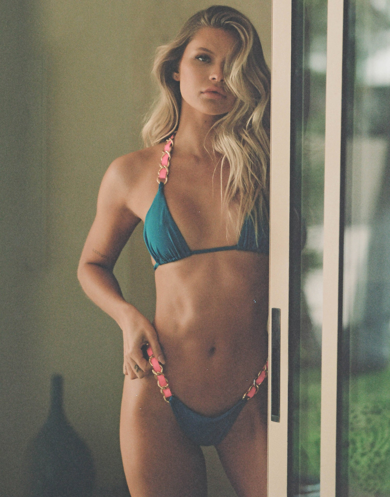 Brynn Tango Bikini Bottom in Ortensia Blue with Pink Straps with Gold Hardware - Alternate Front View / Summer 2021 Campaign - Josie C