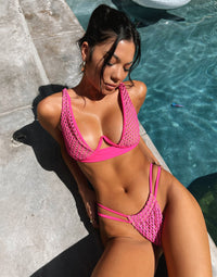 Hudson High Apex Bikini Top in Neon Pink with Mesh Fabric with Nude Lining and Exposed Underwire - Alternate Front View