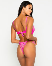 Hudson High Apex Bikini Top in Neon Pink with Mesh Fabric with Nude Lining - Back View