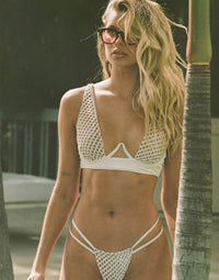 Hudson High Apex Bikini Top in White with Nude Lining and Exposed Underwire - Alternate Front View / Summer 2021 Campaign - Josie Canseco