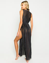 Reed Bikini Cover Up in Black Sheer - Back View