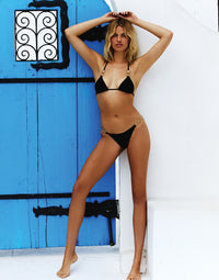 Nadia Triangle Bikini Top in Black with Gold Hardware - Alternate Front View