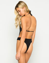 Brooklyn One Piece in Black with Gold Chain Hardware - Back View