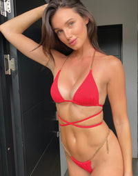 Brooklyn Tango Bikini Bottom in Red with Gold Chain Hardware - Alternate Front View