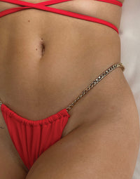 Brooklyn Tango Bikini Bottom in Red with Gold Chain Hardware - Detail  View