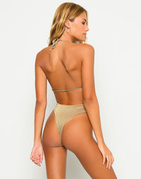 Brooklyn One Piece in Tortuga with Gold Chain Hardware - Back View
