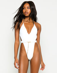 Brooklyn One Piece in White with Gold Chain Hardware - Front View