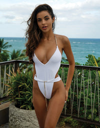 Brooklyn One Piece in White with Gold Chain Hardware - Alternate Front View