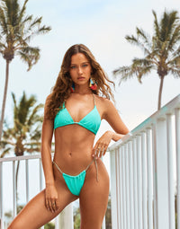 Brooklyn Tango Bikini Bottom in Mint Jelly with Gold Chain Hardware - Alternate Front View / Spring 2021 Campaign - Isabelle Mathers