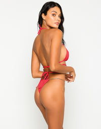 Brooklyn Tango Bikini Bottom in Red with Gold Chain Hardware - Back View