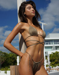 Brooklyn Tango Bikini Bottom in Tortuga with Gold Chain Hardware - Angled View