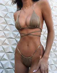 Brooklyn Tango Bikini Bottom in Tortuga with Gold Chain Hardware - Alternate Detail View