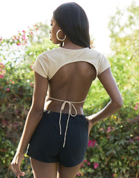 Backless Ribbed Apparel Top in Tan with Drawstring Back Tie - Back View