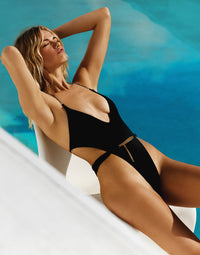 Brooklyn One Piece in Black with Gold Chain Hardware - Alternate Angled View / Summer 2020 Campaign - Hailey