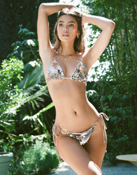 Siren Song Triangle Bikini Top in Gold/Hologram Sequins - Alternate Front View / Summer 2021 Campaign - Cindy Mello