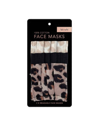 Kitsch's Cotton Mask 3pc Set in Leopard - Product Packaged View